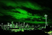 Seattle Skyline Framed Prints - Emerald City Framed Print by Benjamin Yeager