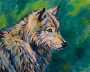 Grey Wolf Framed Prints - Emerald Gaze Framed Print by Theresa Paden
