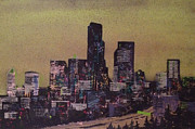 Seattle Skyline Paintings - Emerald Gold by Bennett Kuhns