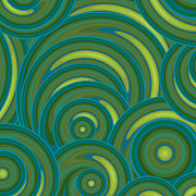Circles Painting Posters - Emerald Green Abstract Poster by Frank Tschakert