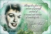 Judy Garland Framed Prints - Emerald Judy Framed Print by Mo T