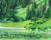 Realistic Watercolor Prints - Emerald Lake Print by Barbara Jewell