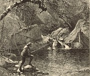 New Hampshire Drawings Posters - Emerald Pool at Peabody River Glen 1872 Engraving Poster by Antique Engravings