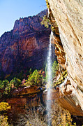 Zion National Park Framed Prints - Emerald Pools Trail Waterfall - Zion Framed Print by Jon Berghoff