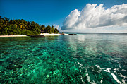 Best Ocean Photography Prints - Emerald Purity. Kuramathi Resort. Maldives Print by Jenny Rainbow