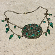 Brass Jewelry - Emerald Vintage New England Glass Works Brooch Necklace 3632 by Teresa Mucha