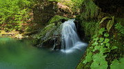 Green Water Prints - Emerald waterfall Print by Davorin Mance