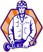 Emergency Worker With Angle Grinder Tool Retro Print by Aloysius Patrimonio