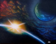 Deep Space Art Painting Framed Prints - Emerging Light Framed Print by Jordan Fraser