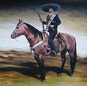 Emiliano Zapata Paintings - Emiliano Zapata 6x6 ft by Paco Leal