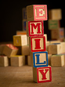 Wooden Blocks Framed Prints - EMILY - Alphabet Blocks Framed Print by Edward Fielding