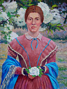Shawl Painting Originals - Emily In The Garden by Keith Burgess