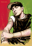Eminem Mixed Media - Eminem long stylised drawing art poster by Kim Wang