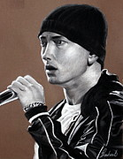 Celebrity Pastels Framed Prints - Eminem - SlimShady - Marshall Mathers - Portrait Framed Print by Prashant Shah