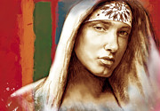 Eminem Mixed Media - Eminem - stylised drawing art poster by Kim Wang