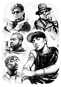 Abstract Stars Drawings Metal Prints - Eminem with rap stars art drawing sketch portrait Metal Print by Kim Wang