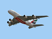 Passenger Plane Framed Prints - Emirates Airlines Airbus A380-861 Framed Print by Graham Taylor