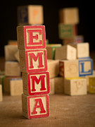 Alphabet Metal Prints - EMMA - Alphabet Blocks Metal Print by Edward Fielding