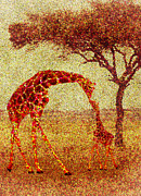 Animal Digital Art Digital Art Prints - Emmas Giraffe Print by Jack Zulli
