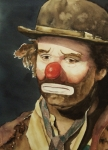 Clown Paintings - Emmett Kelly by Linda Halom