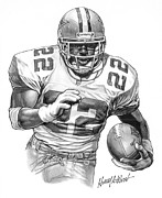 Pro Football Drawings Posters - Emmitt Smith Poster by Harry West