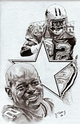 Pro Football Drawings Posters - Emmitt Smith Poster by Jonathan Tooley
