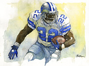 Football Mixed Media Acrylic Prints - Emmitt Smith Acrylic Print by Michael  Pattison