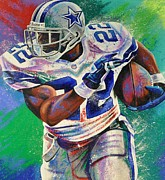 Running Digital Art Prints - Emmitt Smith watercolor painting Print by Sanely Great