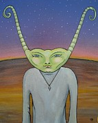 Otherworldly Painting Prints - Emmy Print by Janine Cooper Ayres
