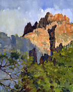 National Painting Posters - Emory Peak from Boot Canyon Poster by Kent Brewer