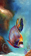 Watercolour Mixed Media Originals - Emperor Angel Fish by Naushad  Waheed