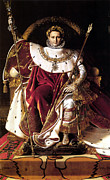 Napoleonic Painting Prints - Emperor Napoleon I On His Imperial Throne Print by War Is Hell Store