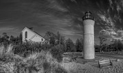 National Lakeshore Prints - Empire Michigan Lighthouse in Black and White Print by Twenty Two North Gallery