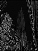 Stenciling Posters - Empire NYC white on black Poster by Meandering Photography