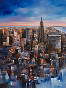 New York City Skyline Painting Originals - Empire Rising Tall by Manit