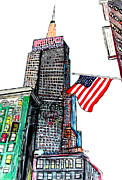 Stars And Stripes Drawings - Empire State Anvenue by Brian Buckley