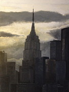 Empire State Building Paintings - Empire State at Sunset by Carl Frankel