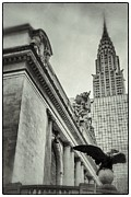 Wolkenkratzer Posters - Empire State Building And Grand Central Station Vintage Black And White Poster by For Ninety One Days