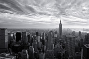 New York Vista Framed Prints - Empire State Building and Midtown Manhattan Black and White Framed Print by Sabine Jacobs