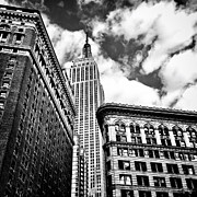 New York Buildings Prints - Empire State Building and New York City Skyline Print by Vivienne Gucwa