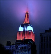 Empire State Building At Night Print by Michael Dagostino