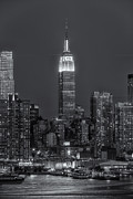 Blue And White Prints - Empire State Building by Moonlight II Print by Clarence Holmes