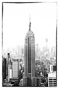 Cityscape Pyrography Prints - Empire State Building Print by Jani Foeldes