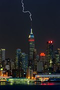 Lightning Bolts Posters - Empire State Building Lightning Strike I Poster by Clarence Holmes
