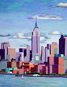 Skylines Pastels Prints - Empire State Building Print by Marion Derrett