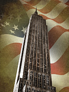 Stars And Stripes.   Posters - Empire State Building Poster by Mark Rogan