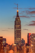 Edifices Posters - Empire State Building Morning Twilight III Poster by Clarence Holmes