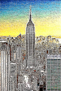 Empire State Building Digital Art Metal Prints - Empire State Building New York City 20130425 Metal Print by Wingsdomain Art and Photography