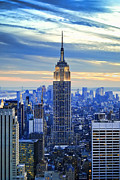 Clouds Posters - Empire State Building New York City USA Poster by Sabine Jacobs