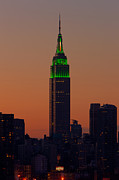 St.patricks Day Framed Prints - Empire State Building Saint Patricks Day Lighting I Framed Print by Clarence Holmes
